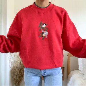 Vintage Red Birds Christmas Sweatshirt
